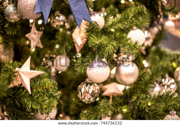 Beautiful christmas background. Decorated christmas tree close up