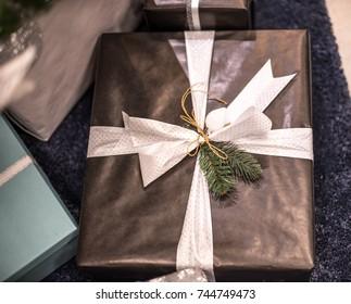 Beautiful christmas background. Gift box close up