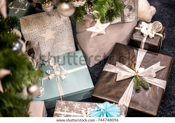 Beautiful christmas background with gift boxes