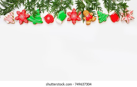 Beautiful christmas background, ginger biscuits on white background
