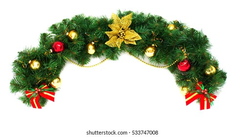 Beautiful christmas background with gold poinsettia. New Year decorations