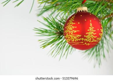 beautiful Christmas balls on a white background
