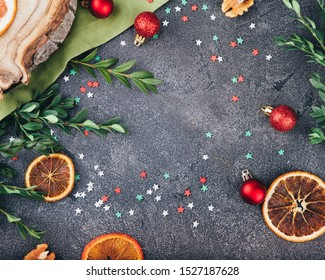 Beautiful Christmas composition in the style of flat bark on a tabletop made of natural stone, using eco-materials and healthy food.
