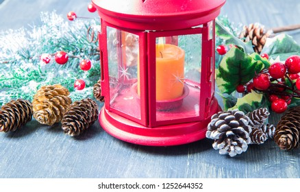 beautiful Christmas decoration with red lantern