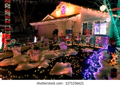 Beautiful Christmas decorations and street lights