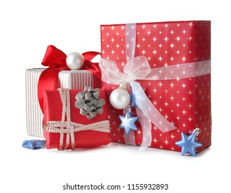 Beautiful Christmas gift boxes on white background