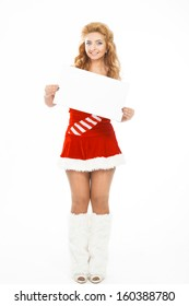 Beautiful christmas girl isolated on white background holding blank poster