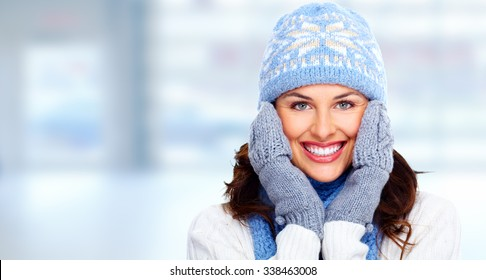 Beautiful christmas girl portrait over winter banner background.