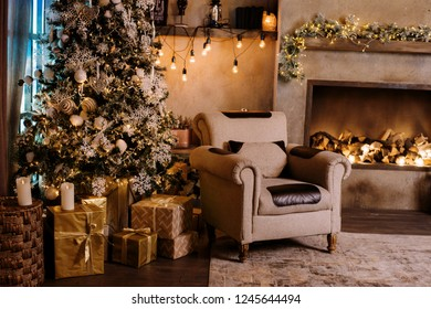 Beautiful Christmas interior with many bright lights