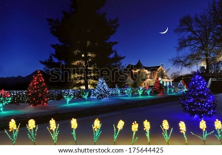 Beautiful Christmas lights at Oglebay Park in West Virginia under a starry  winter sky. - Beautiful Christmas Lights Oglebay Park West Stock Photo (Edit Now
