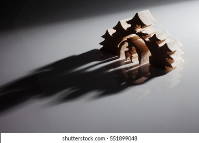 Beautiful Christmas Nativity Scene - Holy Family with back light and shadows.
