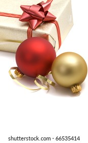 Beautiful Christmas ornaments and wrapped gifts