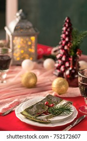 Beautiful Christmas table setting with decorations in vintage style