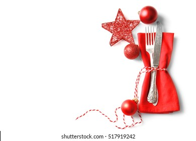 Beautiful Christmas table setting on light background