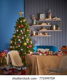 Beautiful Christmas table Christmas tree background all kind of new year concept and ornament modern living room interior style
