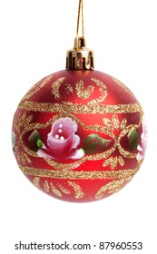 Beautiful Christmas toy - a ball with designs on a white background