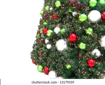beautiful christmas tree with all kinds of colorful ornament and lights isolated on white background - Kinds Of Christmas Trees