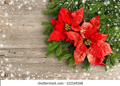 beautiful christmas tree branch with red poinsettia flower on wooden background