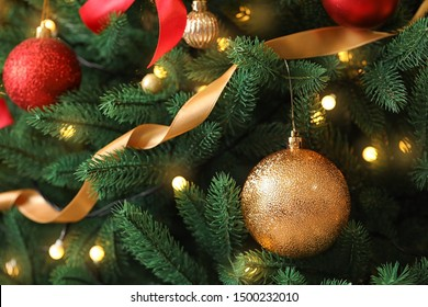 Beautiful Christmas tree with decor as background