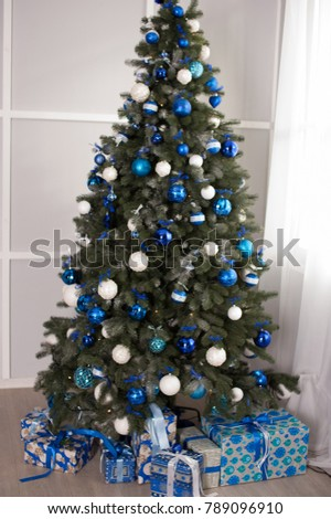 Beautiful Christmas Tree Decorated Blue Balls Stock Photo (Edit Now ...