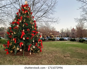 Beautiful Christmas tree decorated for the holidays
