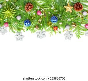 Beautiful Christmas Tree decoration isolated white background