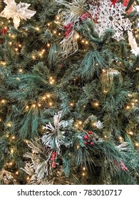 Beautiful Christmas tree with garlands of lights. Christmas decorations. Christmas background.