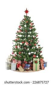 Beautiful christmas tree isolated on white background - studio shot