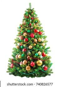 Beautiful christmas tree isolated on white background.