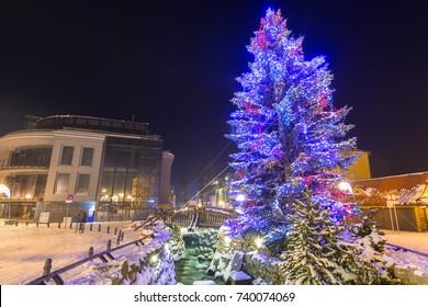 Beautiful Christmas tree at Krupowki street in Zakopane, Poland