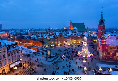 Beautiful Christmas tree on Palace Square of Warsaw in the evening, the top view