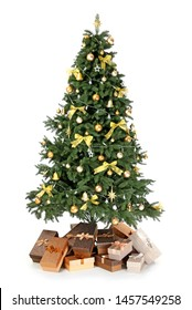 Beautiful Christmas tree on white background