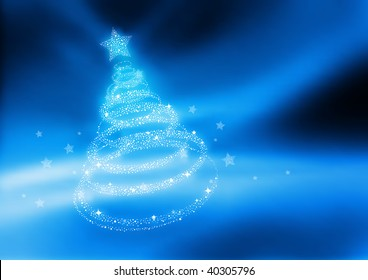 Beautiful Christmas Tree. Vector illustration.