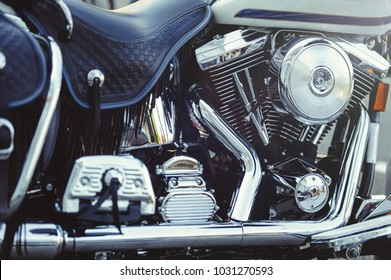 beautiful chrome motor of a motorcycle close-up.