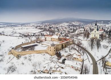 Beautiful church with fortress of Pecsvarad, Hungary at winter