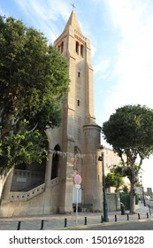 Beautiful church Notre Dame De Lourdes in city of Bastia in Corsica. Landmark of the capital of North Corsica.