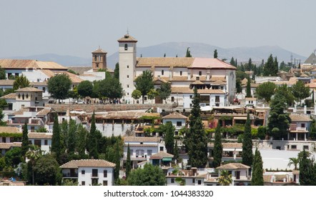 Beautiful church on the hill under the Alhambra in Granada, Spain