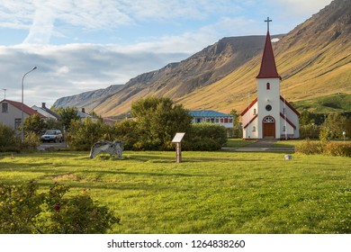Beautiful church in small town Flateyri, west fjords. Iceland