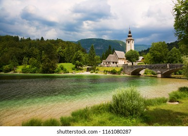 The Beautiful Church of St John the Baptist by Lake Bohinj, Slovenia