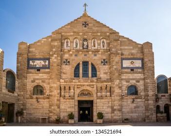 The beautiful Church of St John the Baptist in the historic town of Madaba in Jordan