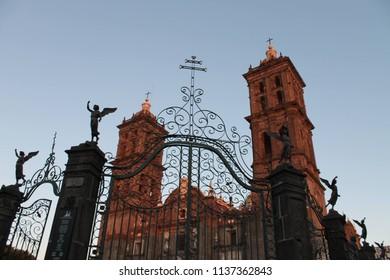 beautiful church at subset Puebla