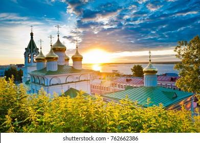 Beautiful church at sunset, Nizhny Novgorod, Russia