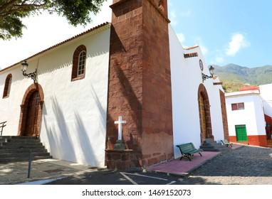 Beautiful church in Taganana small village in Tenerife Island, Spain. Tourism in Tenerife.