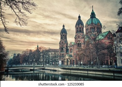 Beautiful church, a temple at sunset. Europe and landmark attractions of Munich, Germany