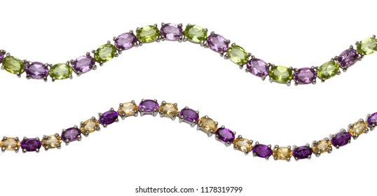 Beautiful citrine peridot and amethyst bracelet 925 sterling silver,gemstone,isolated on white background