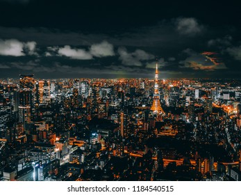 Beautiful city with architecture and building in tokyo cityscape japan at night