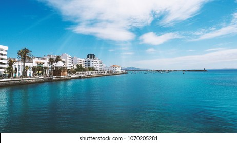 Beautiful city beach view on a exotic location, Fuerteventura, Spain, Canarian islands