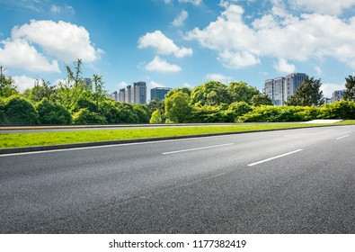 Beautiful city with empty road