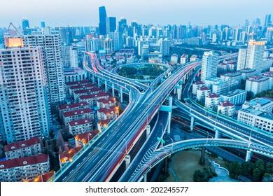 beautiful city interchange in nightfall at shanghai yanan west road