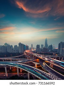 beautiful city interchange overpass at night in shanghai ,China